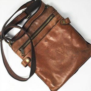 Patricia Nash Brown Distressed Leather Crossbody